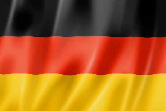 Germany flag, three dimensional render, satin texture
